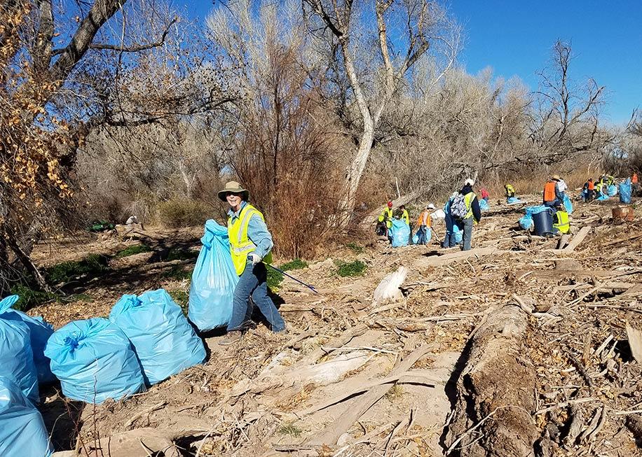 Trash bags from Santa Cruz River cleanup